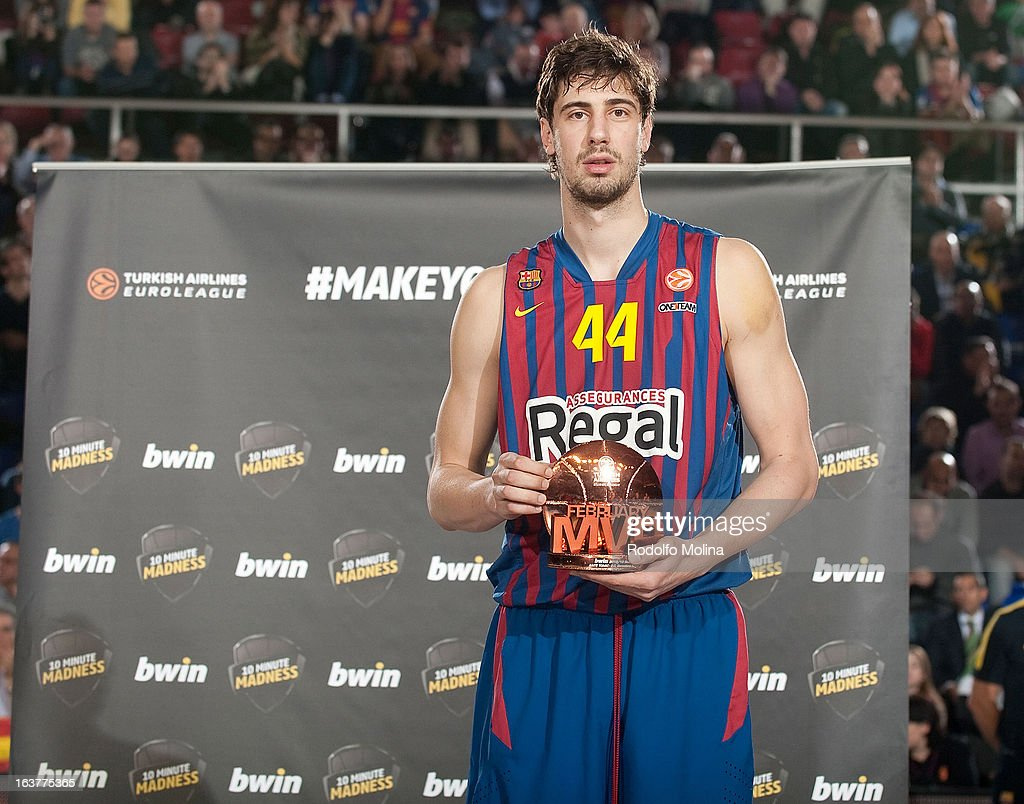 Ante Tomic, #44 of FC Barcelona Regal poses with the bwin MVP February trophy during the 2012-2013 Turkish Airlines Euroleague Top 16 Date 11 between FC Barcelona Regal v Besiktas JK Istanbul at Palau Blaugrana on March 15, 2013 in Barcelona, Spain.