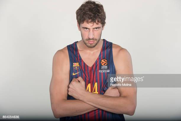 Ante Tomic #44 poses during FC Barcelona Lassa 2017/2018 Turkish Airlines EuroLeague Media Day at Palau Blaugrana on September 25 2017 in Barcelona...