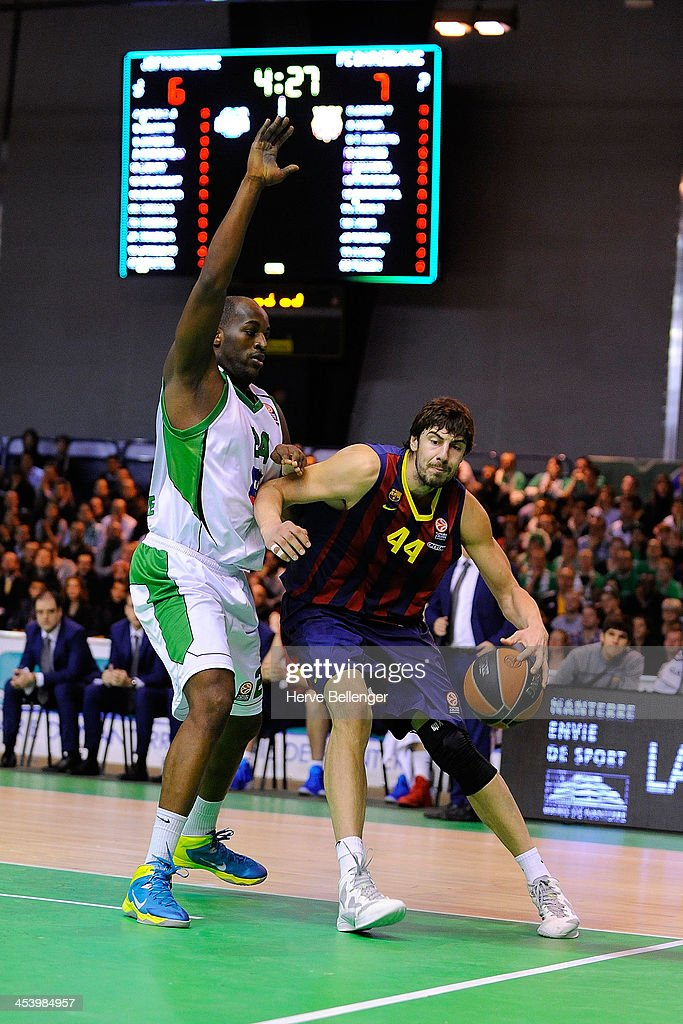 Ante Tomic of FC Barcelona in action during the 2013-2014 Turkish Airlines Euroleague Regular Season Date 8 game between JSF Nanterre v FC Barcelona at Halle Carpentier on December 6, 2013 in Nanterre, France.