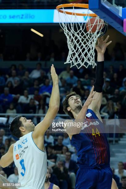 Ante Tomic of FC Barcelona Lassa during the Liga Endesa game between Real Madrid and FCB Lassa at Wizink Center on November 12 2017 in Madrid Spain