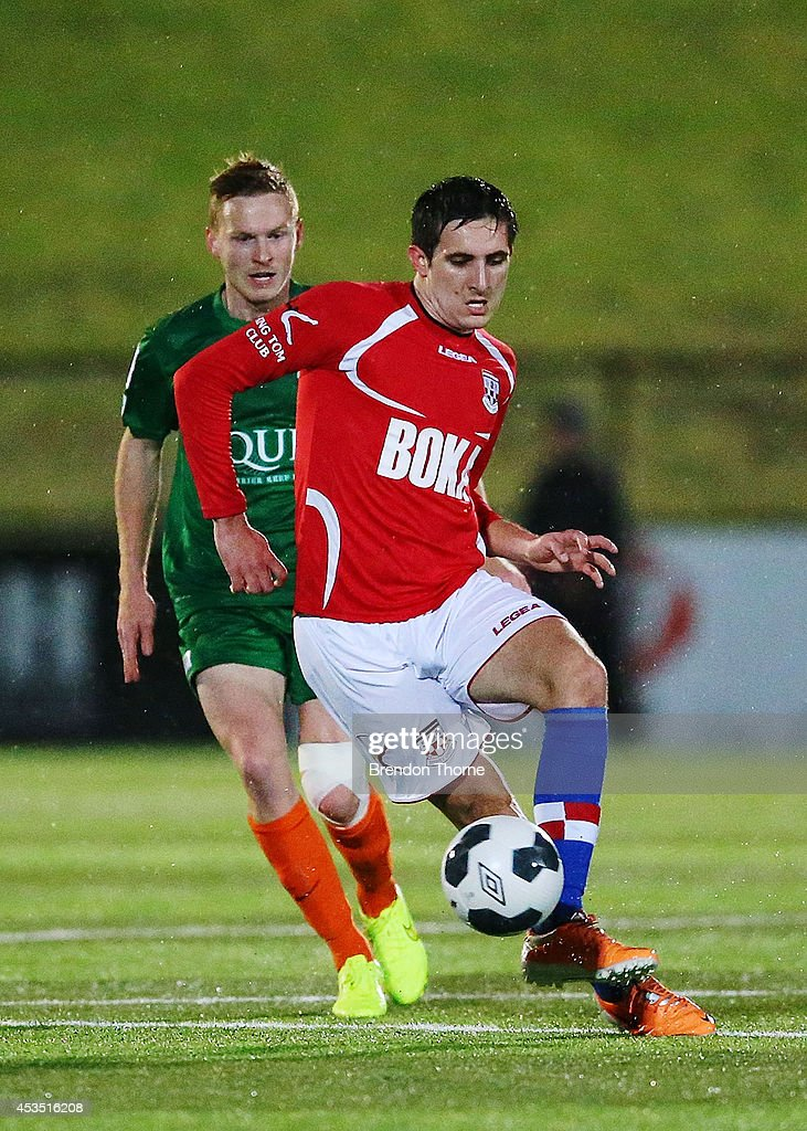 Ante Tomic of United controls the ball during the FFA Cup match between Sydney United 58 FC and the FNQ Heat at Sydney United Sports Centre on August 12, 2014 in Sydney, Australia.