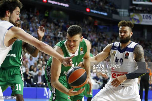 Ante Zizic #41 of Darussafaka Dogus Istanbul in action during the 2016/2017 Turkish Airlines EuroLeague Playoffs leg 2 game between Real Madrid v...