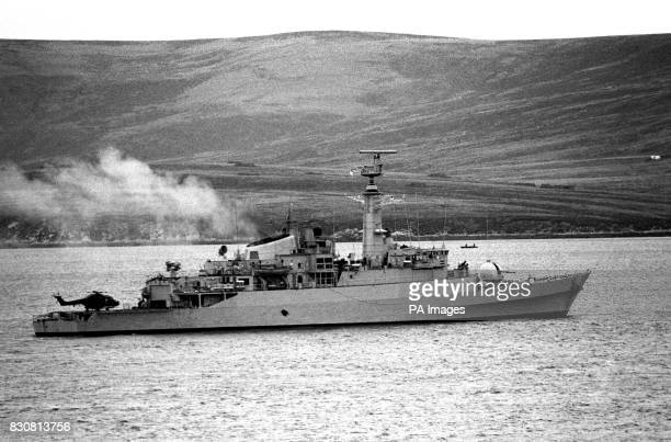 Antelope in Ajax Bay the day before she exploded and sank as a result of being struck by an Argentinian Exocet missile An Engineer was killed trying...