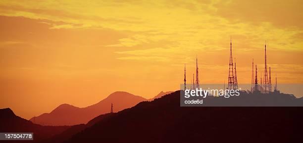 Antenna array at sunset, Rio de Janeiro, Brazil, copy space
