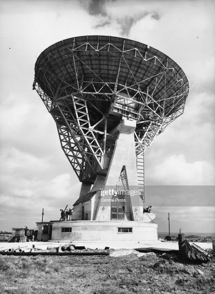Antenna One at Goonhilly Satellite Earth Station at Goonhilly Downs in Cornwall, 2nd May 1962. The parabolic dish was built to link with the Telstar communications satellite.