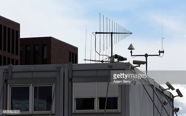 Antennae and surveillance cameras operate at the partiallyfinished new headquarters building of Germany's Federal Intelligence Service the...