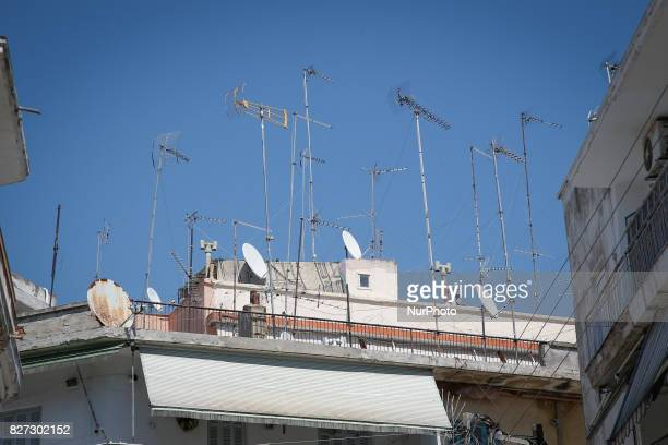 Antennas for television and radio are seen on rooftops in downtown Thessaloniki on 3 August 2017