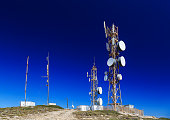 antennas on the top of the mountains