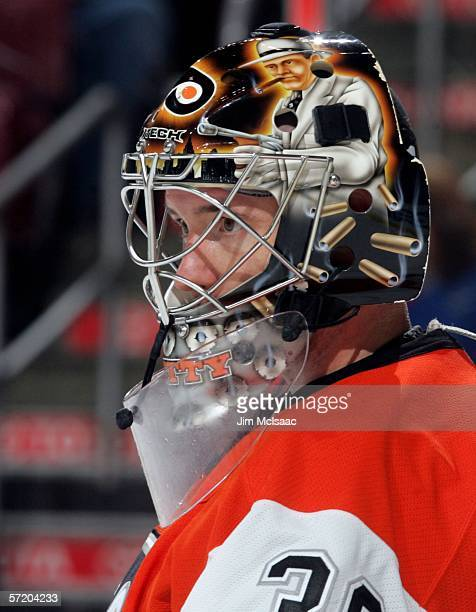 Antero Niittymaki of the Philadelphia Flyers looks on during a break in the action against the Toronto Maple Leafs on March 28 2006 at the Wachovia...