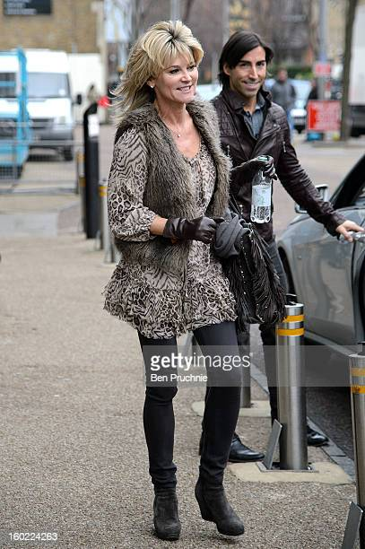 Anthea Turner and Andy Buchanan are sighted departing ITV Studios on January 28 2013 in London England