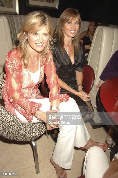 Anthea Turner and Carole Vordeman attend the after party celebrating the first performance of Patrick Swayze in the stage production of ''Guys And...