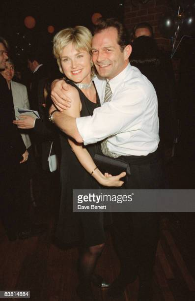 Anthea Turner and her husband Peter Powell at the opening performance of the musical 'Copacabana' 12th April 1995