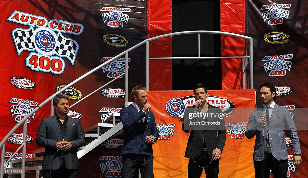 Anthem Singer The Tenors perform prior to the NASCAR Sprint Cup Series Auto Club 400 at Auto Club Speedway on March 24, 2013 in Fontana, California.