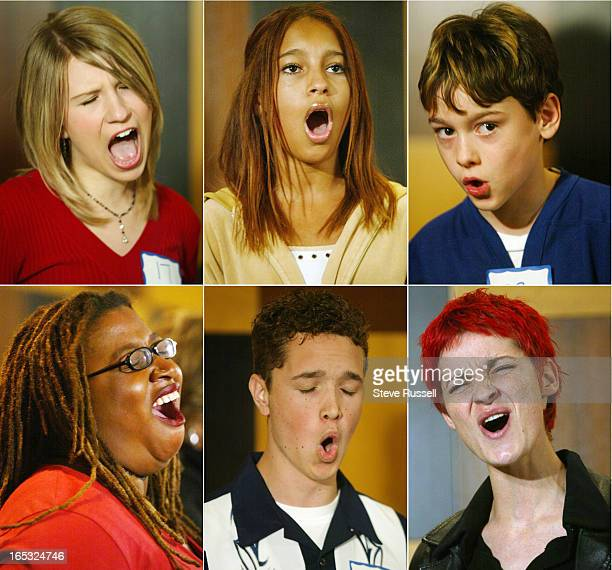 ANTHEMS10/23/04Hopefuls belts out the last few lines of 'Oh Canada' as the Toronto Maple Leafs hold auditions for anthem singers Maple Leaf and Baby...