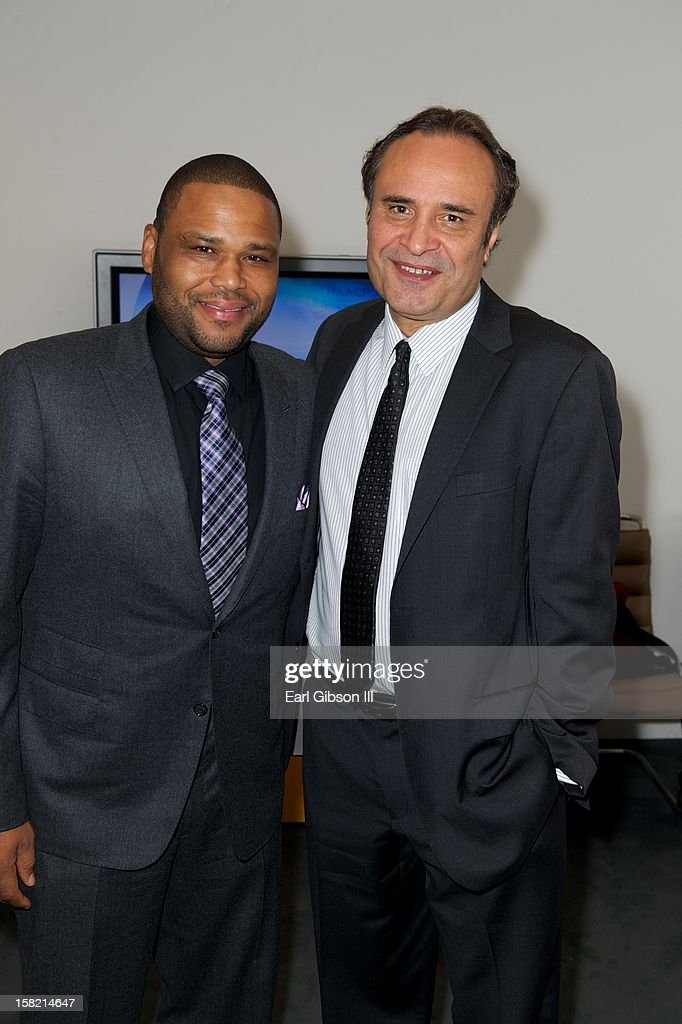 Anthon Anderson and Vicangelo Bulluck pose for a photo at the 44th NAACP Image Awards Press Conference at The Paley Center for Media on December 11, 2012 in Beverly Hills, California.