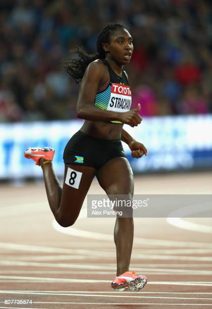Anthonique Strachan of the Bahamas competes in the Women's 200 metres heats during day five of the 16th IAAF World Athletics Championships London...