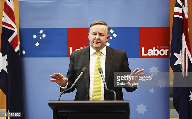 Anthony Albanese speaks to the media during a press conference on October 13 2013 in Canberra Australia Labor leader hopefuls Anthony Albanese and...