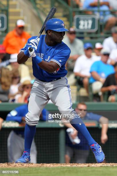 Anthony Alford of the Blue Jays at bat during the spring training game between the Toronto Blue Jays and the Baltimore Orioles on March 08 2017 at Ed...