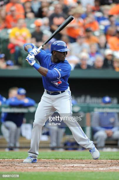 Anthony Alford of the Toronto Blue Jays bats against the Baltimore Orioles at Oriole Park at Camden Yards on May 21 2017 in Baltimore Maryland