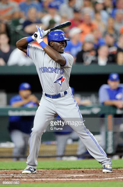 Anthony Alford of the Toronto Blue Jays bats during his MLB debut against the Baltimore Orioles at Oriole Park at Camden Yards on May 19 2017 in...