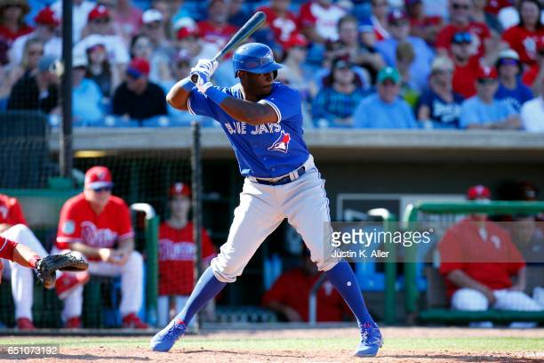 Anthony Alford of the Toronto Blue Jays in action against the Philadelphia Phillies at Spectrum Field on March 9 2017 in Clearwater Florida
