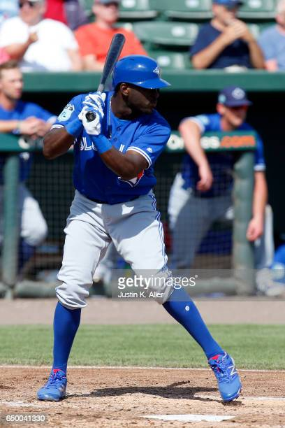 Anthony Alford of the Toronto Blue Jays in action against the Baltimore Orioles on March 8 2017 at Ed Smith Stadium in Sarasota Florida