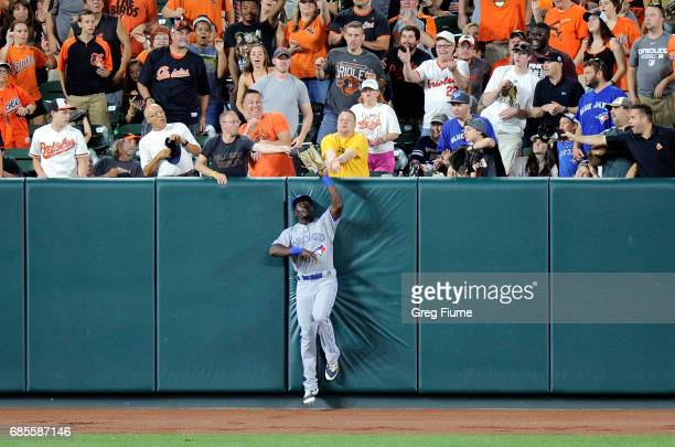 Anthony Alford of the Toronto Blue Jays in his MLB debut catches a ball hit by JJ Hardy of the Baltimore Orioles in the sixth inning at Oriole Park...