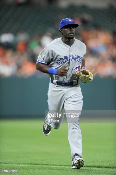 Anthony Alford of the Toronto Blue Jays runs in from the outfield during his MLB debut against the Baltimore Orioles at Oriole Park at Camden Yards...