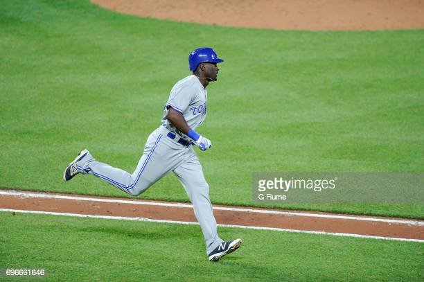 Anthony Alford of the Toronto Blue Jays runs towards first base during his MLB debut against the Baltimore Orioles at Oriole Park at Camden Yards on...