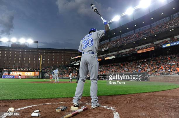 Anthony Alford of the Toronto Blue Jays warms up in the on deck circle during the second inning of his MLB debut against the Baltimore Orioles at...