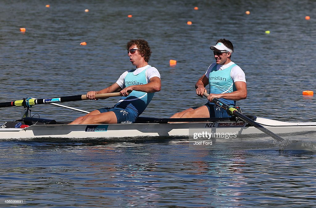 Anthony Allen and Patrick McInnes of the Waikato Regional Performance Centre compete in the men's premier coxless pair during the Christmas Regatta 1 at Lake Karapiro on December 15, 2013 in Cambridge, New Zealand.