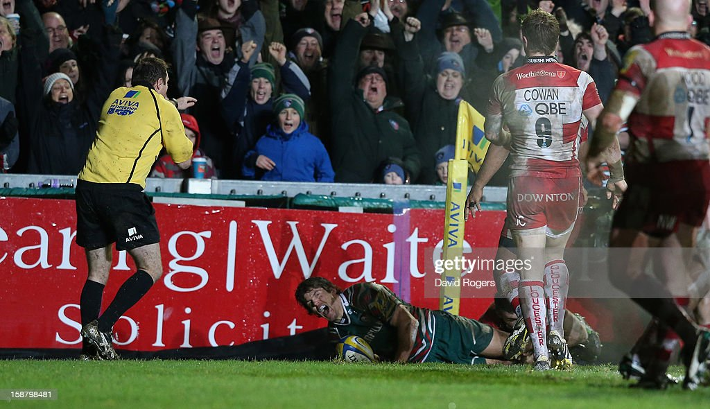 Anthony Allen of Leicester dives over for the first try during the Aviva Premiership match between Leicester Tigers and Gloucester at Welford Road on December 29, 2012 in Leicester, England.