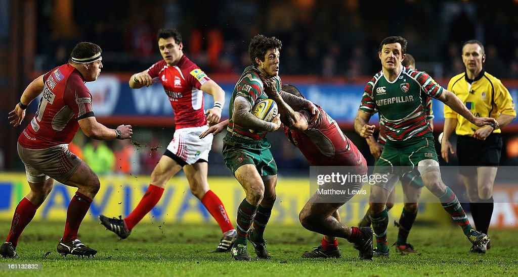 Anthony Allen of Leicester is tackled by Franck Montanella of London Welsh during the Aviva Premiership match between Leicester Tigers and London Welsh at Welford Road on February 9, 2013 in Leicester, England.