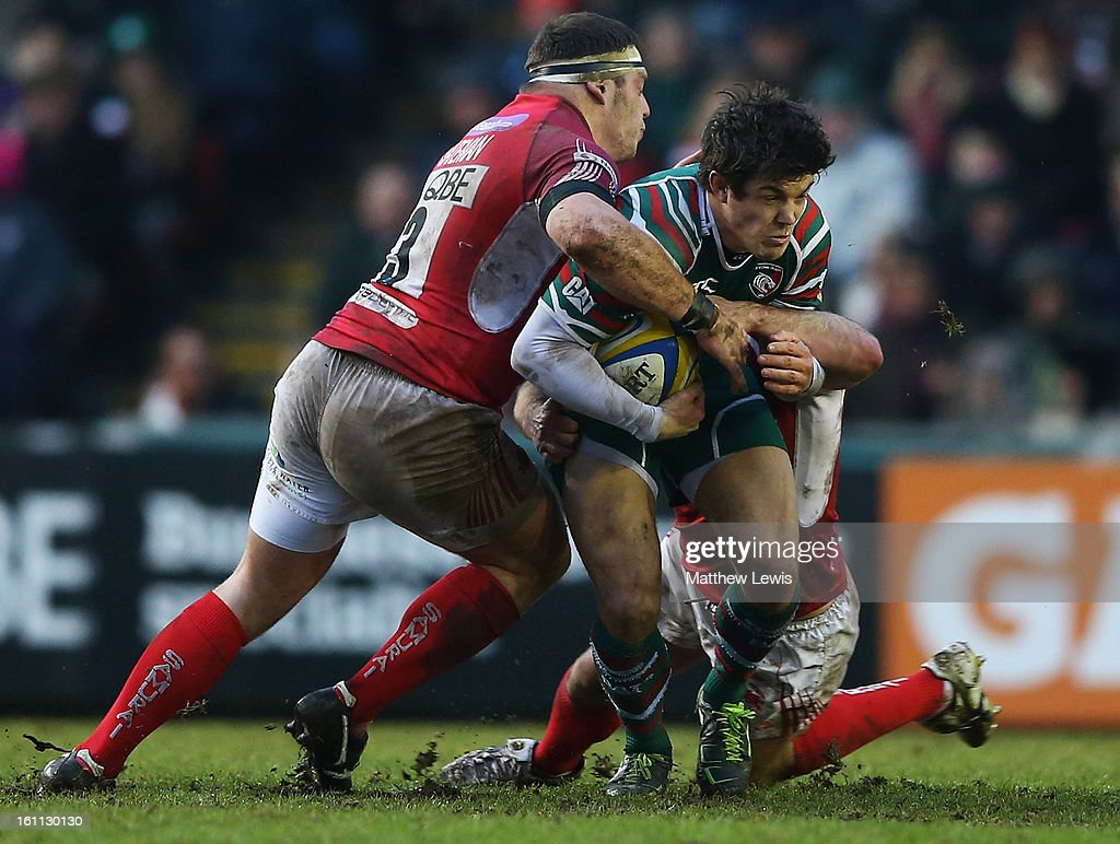 <a gi-track='captionPersonalityLinkClicked' href=/galleries/search?phrase=Anthony+Allen&family=editorial&specificpeople=542876 ng-click='$event.stopPropagation()'>Anthony Allen</a> of Leicester is tackled by Greg Bateman of London Welsh during the Aviva Premiership match between Leicester Tigers and London Welsh at Welford Road on February 9, 2013 in Leicester, England.