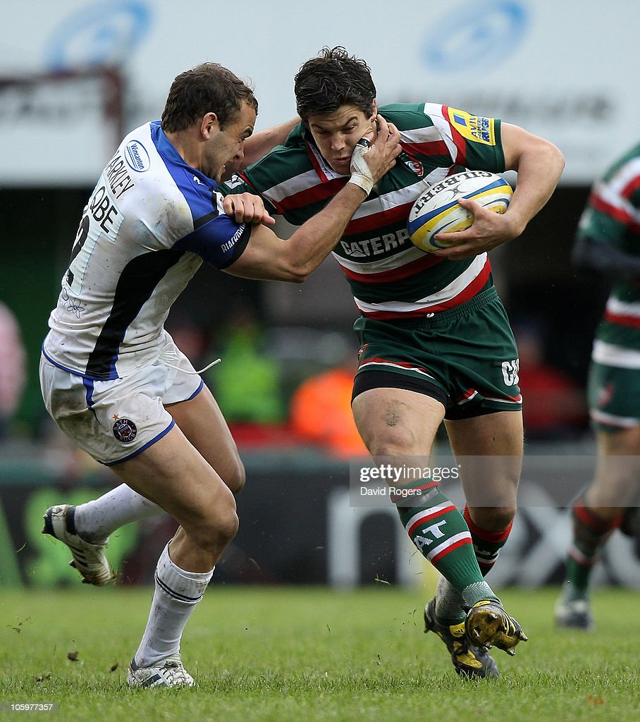 Anthony Allen of Leicester is tackled by Olly Barkley during the Aviva Premiership match between Leicester Tigers and Bath at Welford Road on October 23, 2010 in Leicester, England.