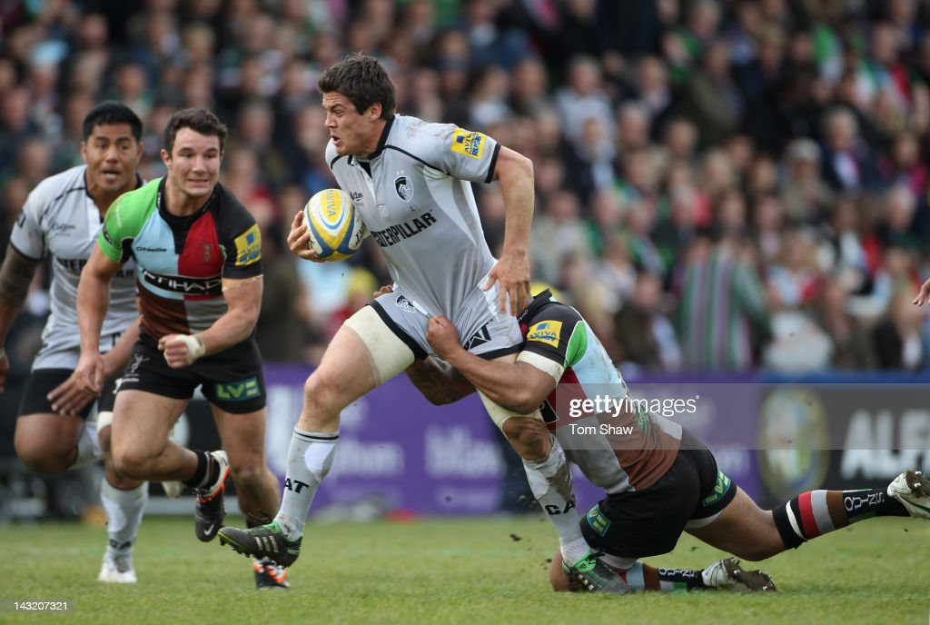<a gi-track='captionPersonalityLinkClicked' href=/galleries/search?phrase=Anthony+Allen&family=editorial&specificpeople=542876 ng-click='$event.stopPropagation()'>Anthony Allen</a> of Leicester is tackled during the Aviva Premiership match between Harlequins and Leicester Tigers at Twickenham Stoop on April 21, 2012 in London, England.