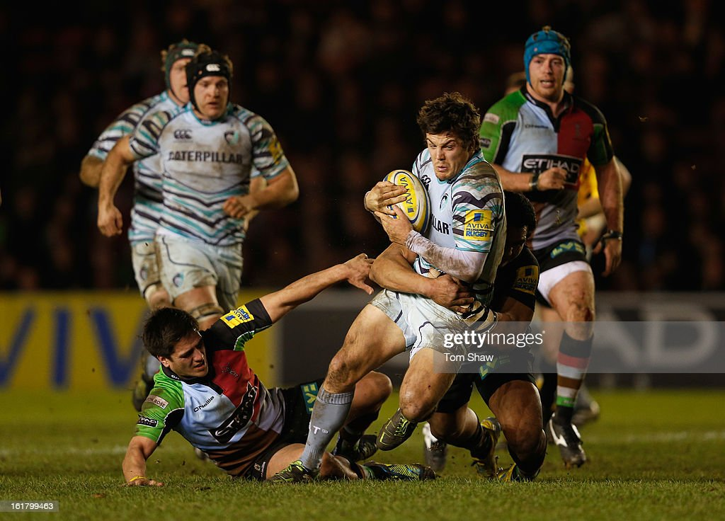 Anthony Allen of Leicester is tackled during the Aviva Premiership match between Harlequins and Leicester Tigers at Twickenham Stoop on February 16, 2013 in London, England.