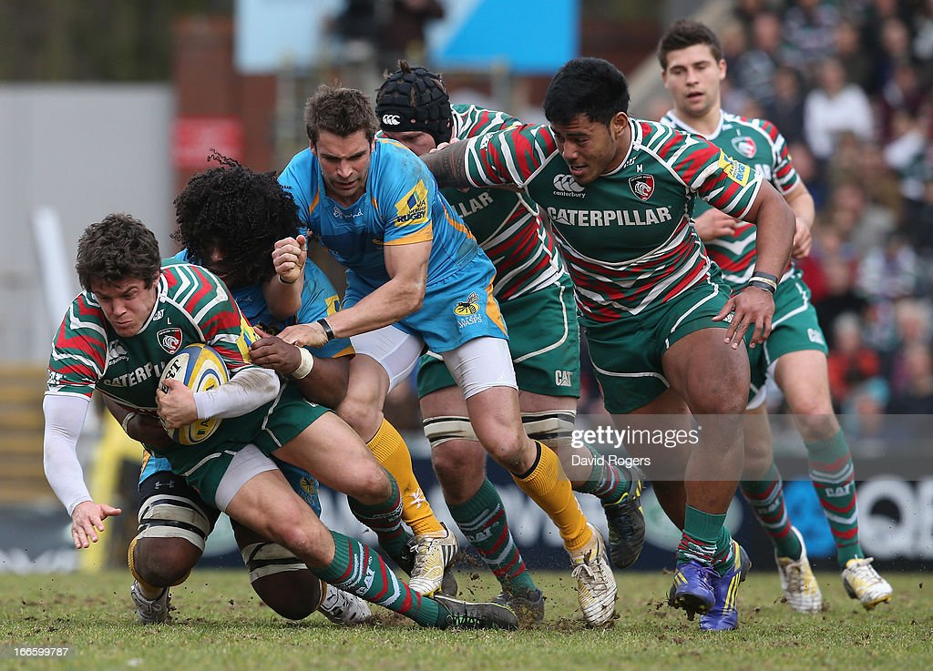 <a gi-track='captionPersonalityLinkClicked' href=/galleries/search?phrase=Anthony+Allen&family=editorial&specificpeople=542876 ng-click='$event.stopPropagation()'>Anthony Allen</a> of Leicester is tackled during the Aviva Premiership match between Leicester Tigers and London Wasps at Welford Road on April 14, 2013 in Leicester, England.