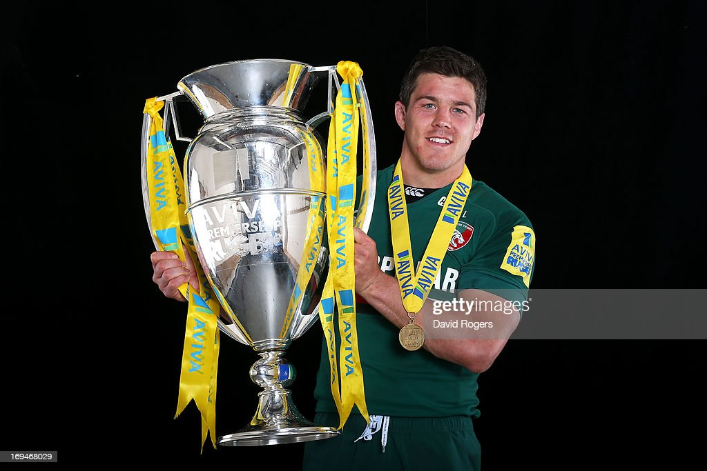 <a gi-track='captionPersonalityLinkClicked' href=/galleries/search?phrase=Anthony+Allen&family=editorial&specificpeople=542876 ng-click='$event.stopPropagation()'>Anthony Allen</a> of Leicester poses with trophy following his team's 37-17 during the Aviva Premiership Final between Leicester Tigers and Northampton Saints at Twickenham Stadium on May 25, 2013 in London, England.