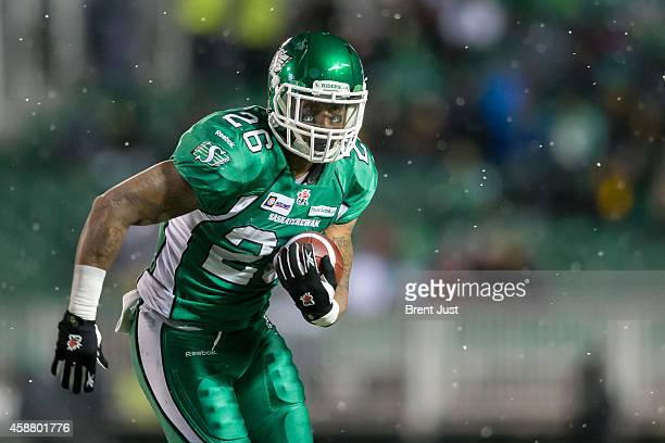 Anthony Allen of the Saskatchewan Roughriders carries the ball in a game between the Edmonton Eskimos and Saskatchewan Roughriders in week 20 of the...
