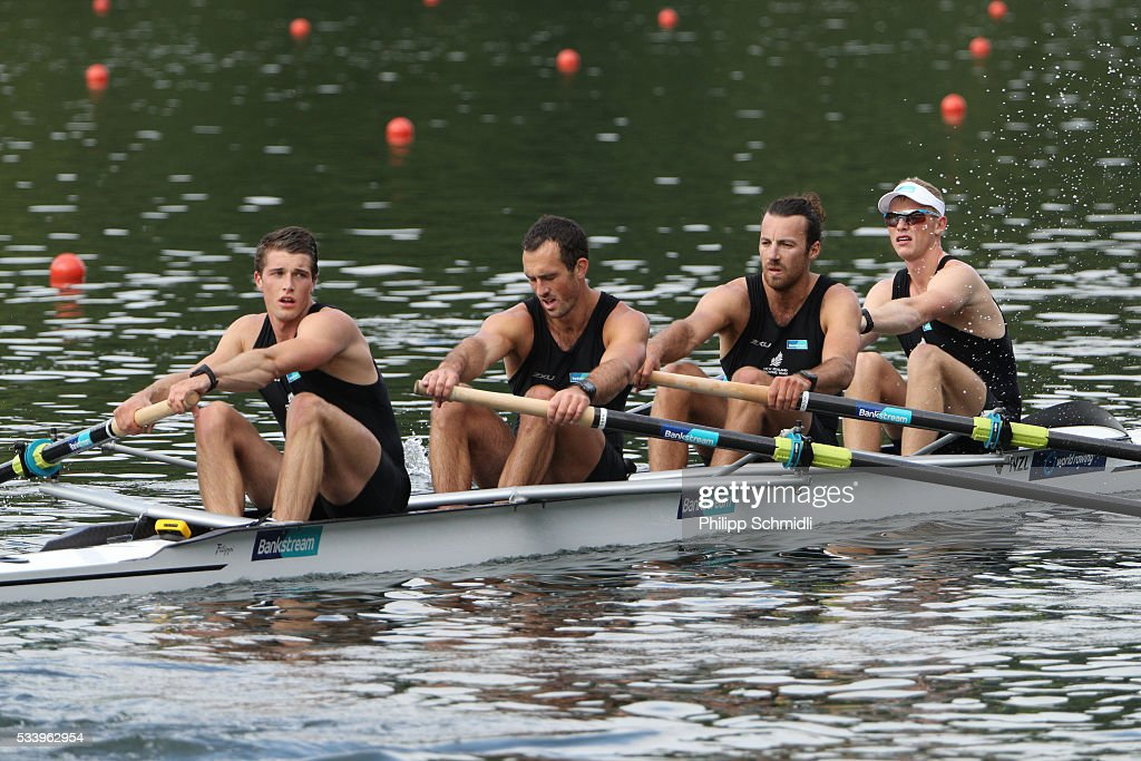 Anthony Allen, Patrick McInnes, Axel Dickinson and Drikus Conradie of New Zealand look dejected after missing the qualification for the 2016 Summer Olympic Games in Rio during Day 3 of the 2016 FISA European And Final Olympic Qualification Regatta at Rotsee on May 24, 2016 in Lucerne, Switzerland.