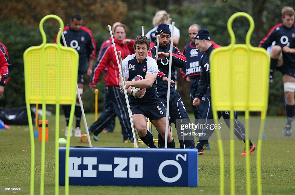 Anthony Allen runs throws the slalom poles during the England training session held at Pennyhill Park on November 20, 2012 in Bagshot, England.