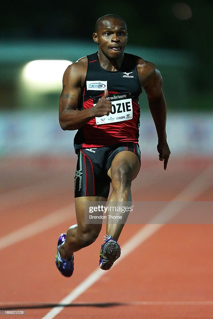 Anthony Alozie of NSW competes in the Men's 100 metre during the Hunter Track Classic on February 2, 2013 in Newcastle, Australia.