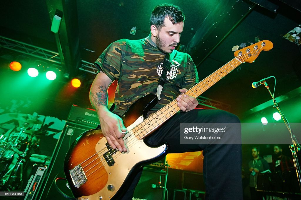 Anthony Altamura of Stray From The Path performs on stage at the Rock Sound Empericon Tour at the Corporation on February 20, 2013 in Sheffield, England.