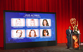 Anthony Anderson and Lauren Graham speak onstage during the 68th Emmy Awards nominations announcement held at Saban Media Center on July 14 2016 in...