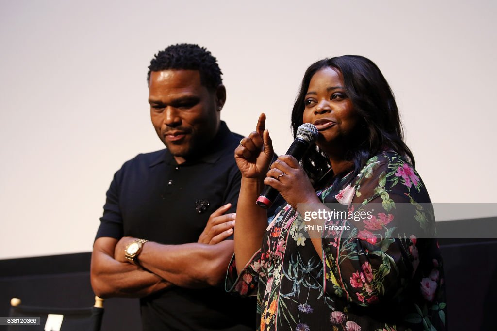 Anthony Anderson and Octavia Spencer speak onstage during UTA celebrates Anthony Anderson on his Emmy nomination for his work on 'Black-ish' at UTA on August 23, 2017 in Beverly Hills, California.