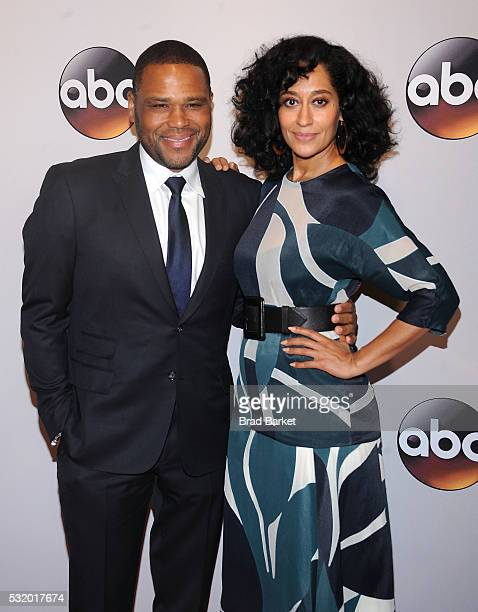 Anthony Anderson and Tracee Ellis Ross attend the 2016 ABC Upfront at David Geffen Hall on May 17 2016 in New York City