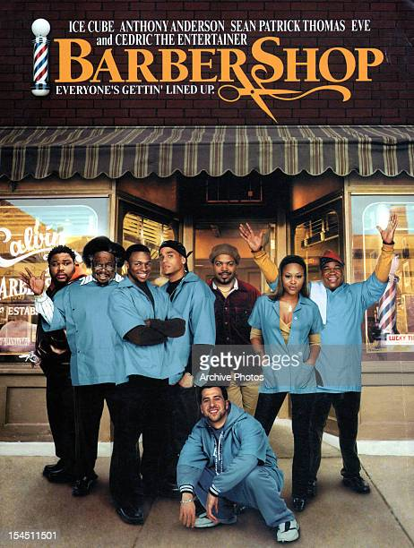 Anthony Anderson Cedric the Entertainer Sean Patrick Thomas Ice Cube and Eve in movie art for the film 'Barbershop' 2002