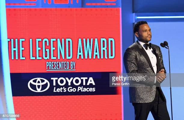 Anthony Anderson presents the Legend Award onstage at the 2017 Soul Train Awards presented by BET at the Orleans Arena on November 5 2017 in Las...