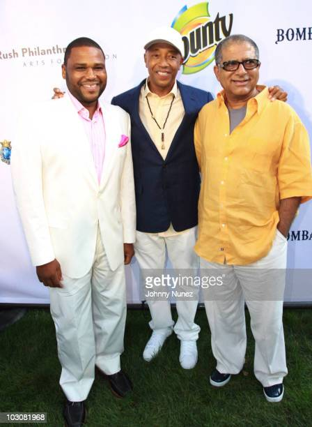 Anthony Anderson Russell Simmons and Deepak Chopra attend the 11th annual Art For Life benefit party at Russell Simmons' East Hampton Estate on July...